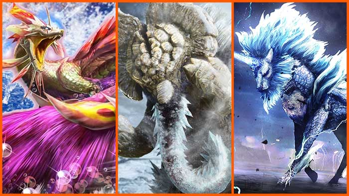 Monster Hunter Stories 2, Soulseer Mizutsune, Elderfrost Gammoth, Oroshi Kirin